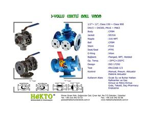 3 Yollu Ceketli Küresel Vana Three Ways Jacketed Ball Valve Multiway MULTIWAY