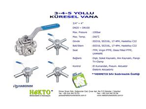3 4 5 Yollu Küresel Vana Çok Yollu Three Four Five FIVE Ways Ball Valve Multiway MULTIWAY