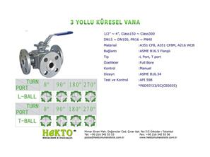 3 Yollu Küresel Vana Three Ways Ball Valve Multiway MULTIWAY