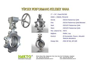 Yüksek Performans Kelebek Vana High HIGH Performance Butterfly Valve